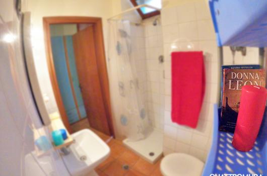 Bagno con doccia e finestra